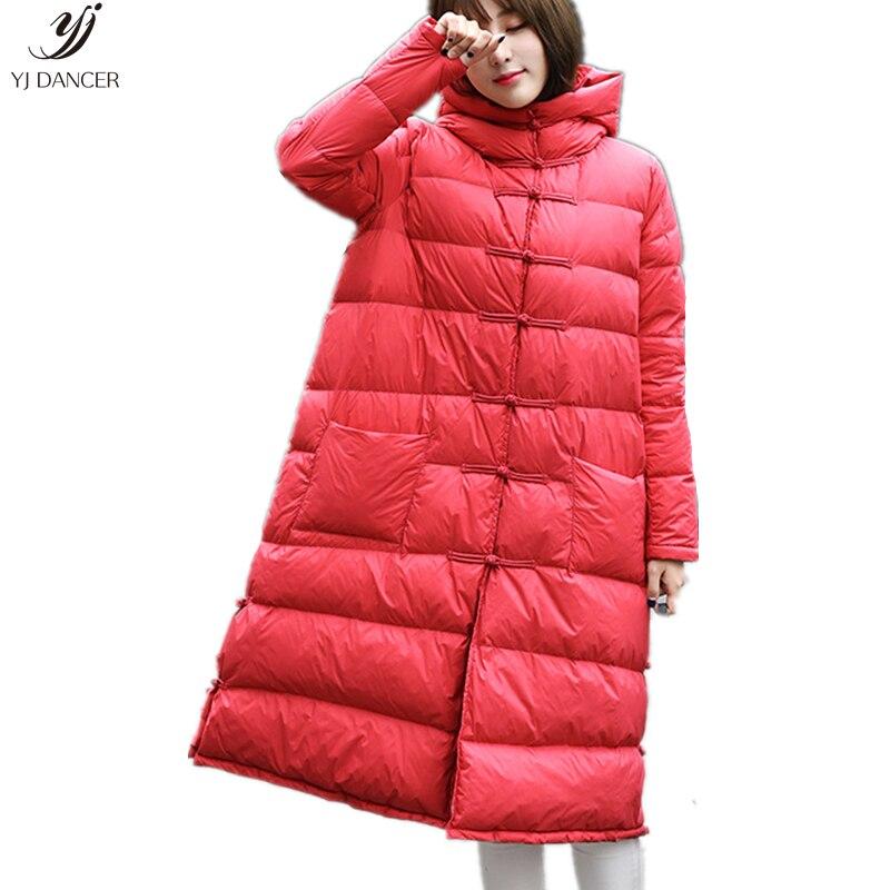 Doudoune femme 2018 nouvelle Section longue Style ethnique rétro lâche chinois vent disque boucle longue genou veste d'hiver HJB365