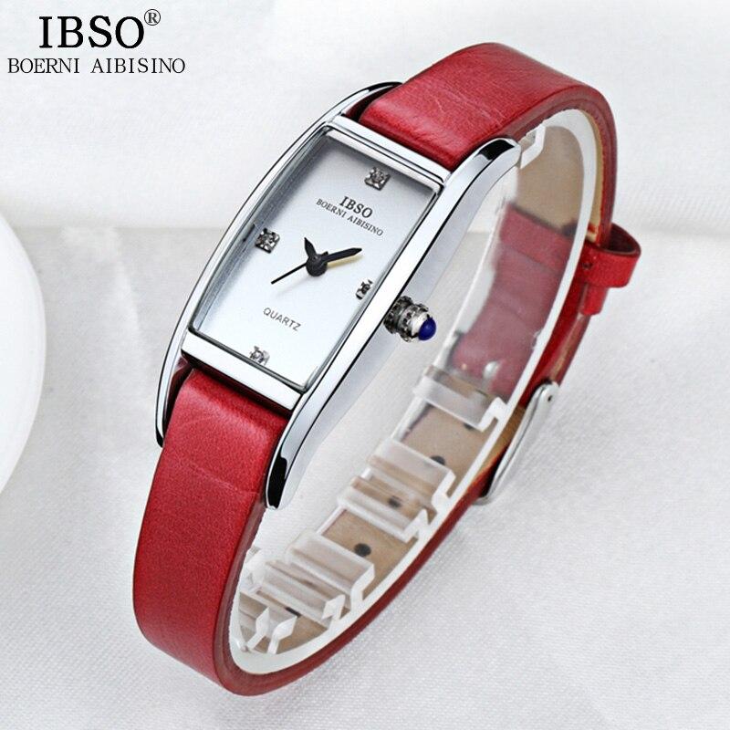 IBSO נשים שעונים 2018 עור אמיתי רצועת אישה שעון אופנה למעלה איכות גבירותיי שעון מסיבת Waterproof Montre femme