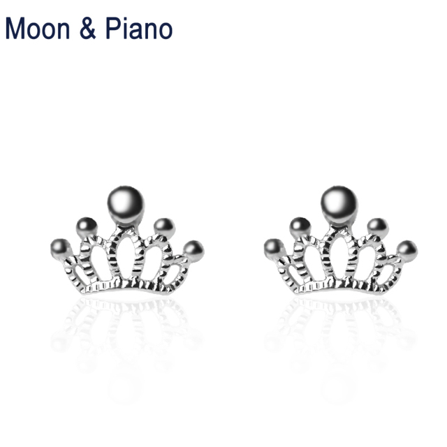 925 Sterling Silver Crown Stud Earrings For Women Simple Hypoallergenic Ear Studs Shining Engagement