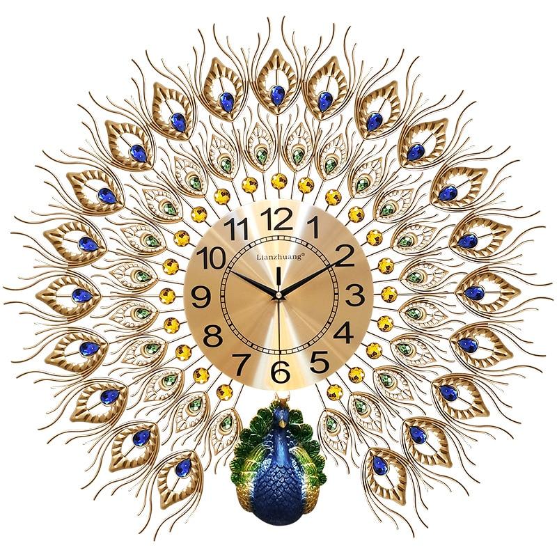 Peacock Wall Clock Living Room Acrylic Diamond Clocks Creative Home Decoration Clock Wall Mute Electronic Wall
