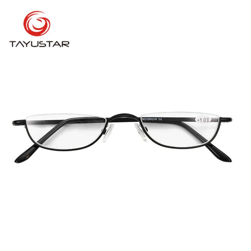 e57db11d1af MEESHOW Design Reading Glasses vintage Men Women Eye Glasses Half Rim With  Case Classic Stainless Steel