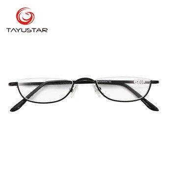 MEESHOW Tasarım Erkekler okuma gözlüğü Kadın Göz gözlük Yarım Jant Kılıf Ile Klasik Paslanmaz Çelik gözlük + 1.00-+ 4.00