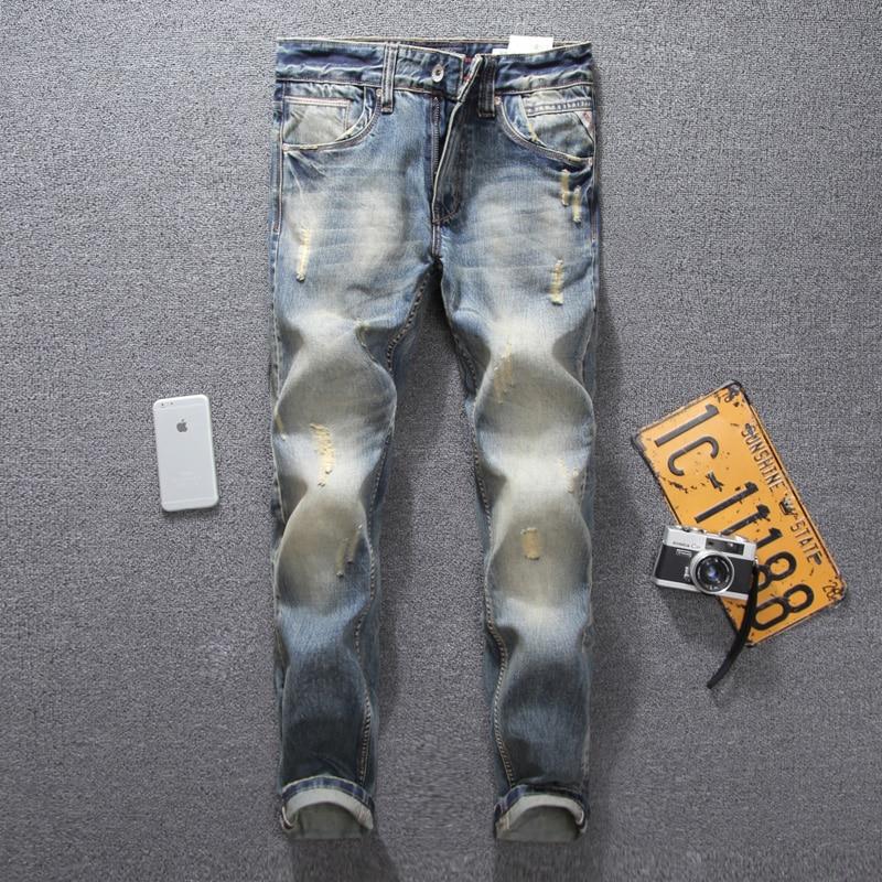 Italian Style Fashion Mens Jeans Retro Design Frayed Hole Ripped Jeans Men Casual Pants Slim Fit Denim Stripe Biker Jeans Homme italian style retro design mens jeans pants dark color straight slim fit denim frayed ripped jeans men dsel brand biker jeans