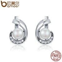 BAMOER Genuine 100 925 Sterling Silver Glittering CZ Fashion Round Stud Earrings Women Sterling Silver Jewelry