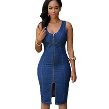 Summer Casual Style Sexy Sleeveless Fashion Deep V Neck Slim-fit Gold Zipper Denim Blue Jean Front Dresses Women