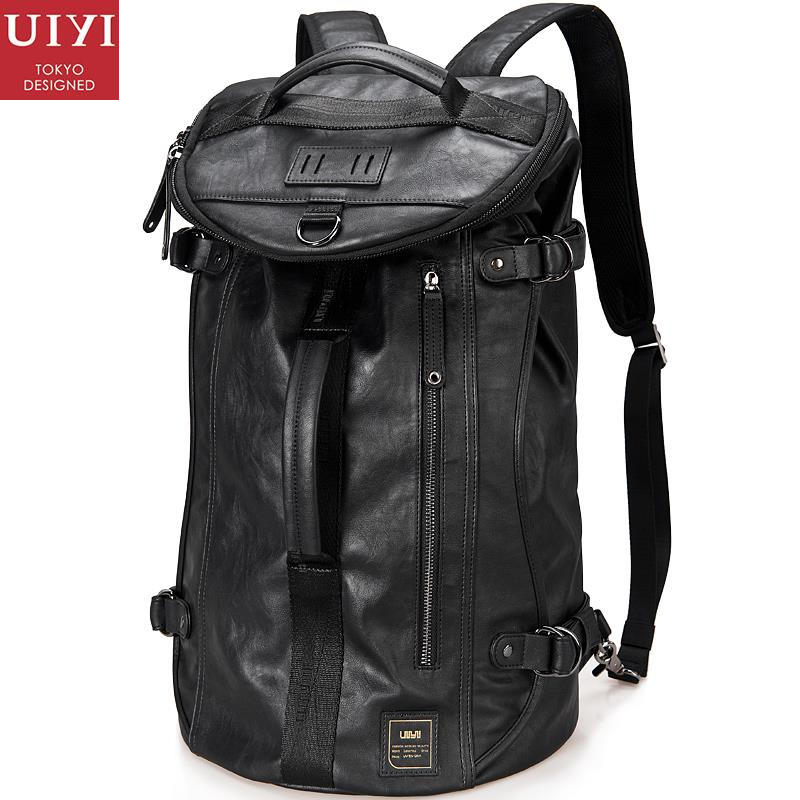 UIYI Design Travel Bag Men PU Leather Backpack Zipper Pocket Fashion 15 Inch Laptop Polyester Lining 38L Rucksack School 140021 цены онлайн