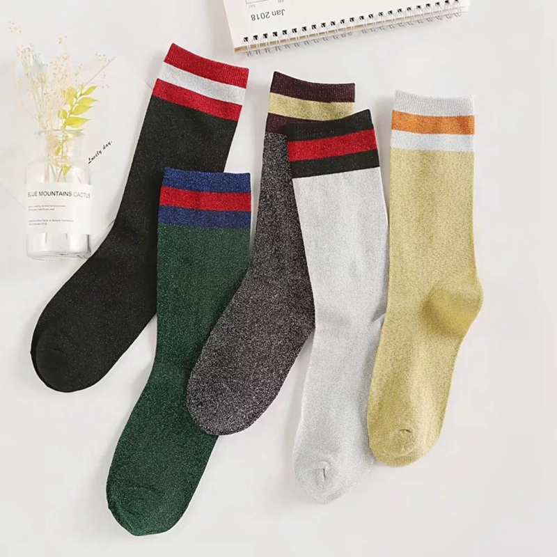 New Sping Harajuku Women Glitter Socks  Casual Striped Socks Girls Silver Shiny Socks Middle Length Woman Socks Mujer