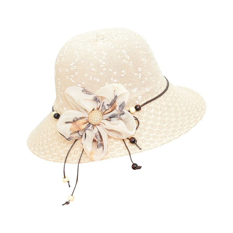 Women Summer Straw Sun Hat Wave Point Knitted Wide Brim Bucket Cap Glitter Button Contrast Color Flower Shape Bowknot
