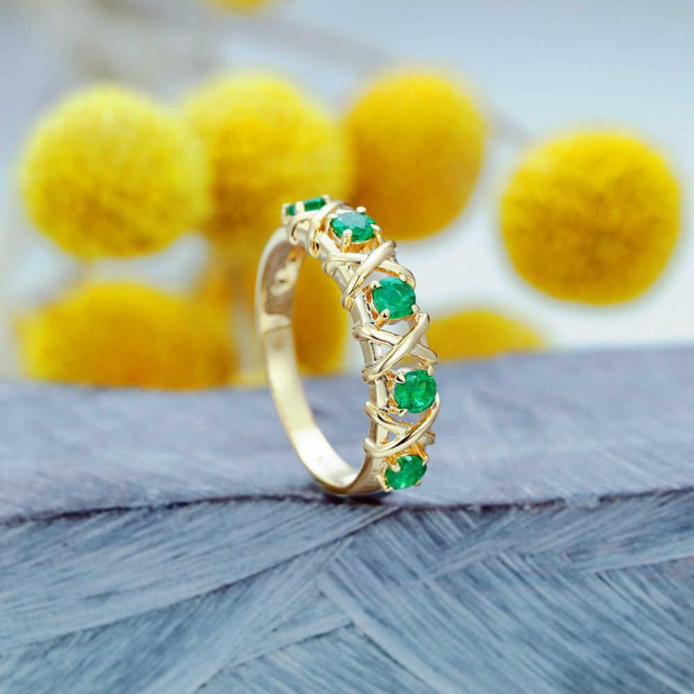 ライト高級婦人象眼グリーンクリスタルリング、高級織り込ま中空の婚約指輪。適切なパーティの結婚式
