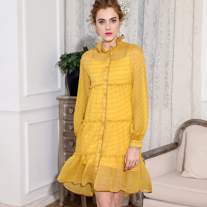 2018 New summer Dress high quality womens dress long-sleeved defined waist dress Large size female vestido