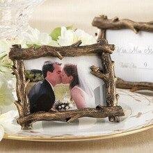 100 Uds Vintage rústico vista escénica rama de árbol de resina foto marco lugar tarjeta foto titular de la boda Favor Baby Shower regalo ZA1358