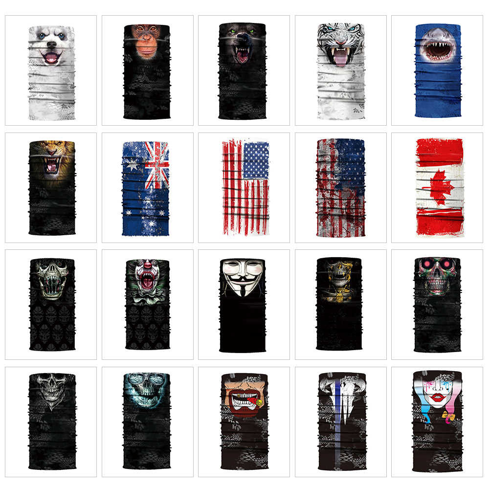 Motorcycle Face Mask Cool Robot Skeleton Halloween Mask Scarf Joker Headband Balaclavas for Cycling Fishing Ski Motorcycle