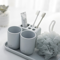 6 Piece Plastic Bath Accessory Bathroom Set, Toothbrush Holder, Cup Holder, Soap Dish, Bath Ball, tray N1135