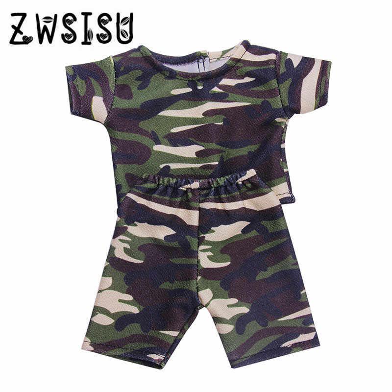 Camouflage เสื้อยืดชุดตุ๊กตาอเมริกัน 18 นิ้วสำหรับ 43 ซม. ตุ๊กตาที่ดีที่สุดตุ๊กตาเด็ก