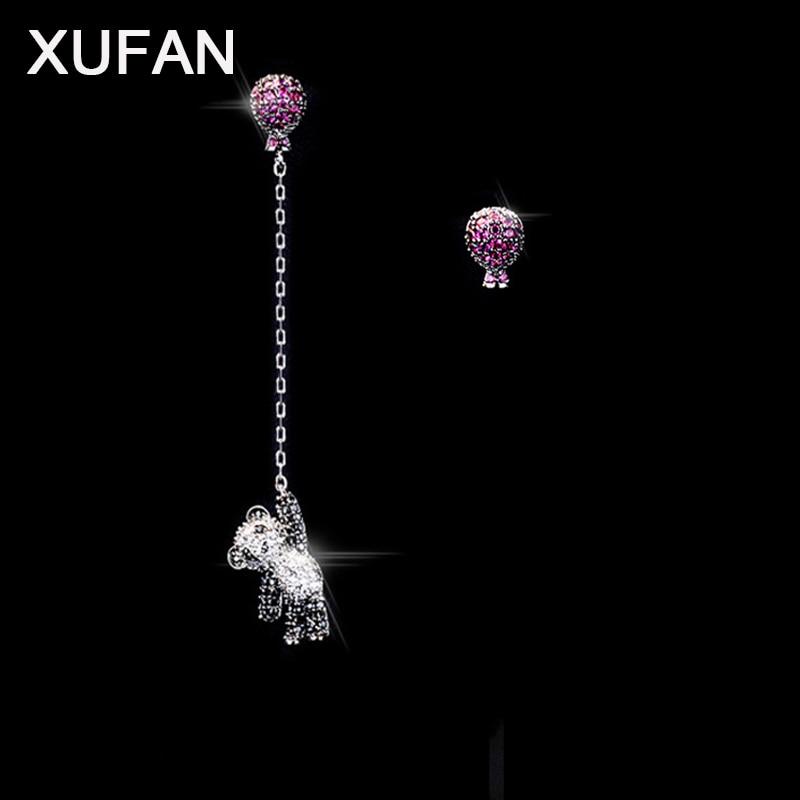 Hot Balloon Panda Luxury CZ Stud Earrings Women Fashion Pink Clear Cubic Zircon Bear asymmetrical earrings Girls Trendy Earrings