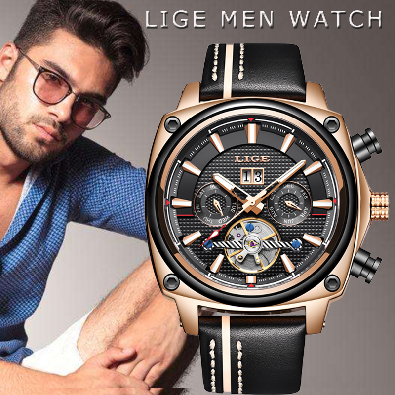 LIGE New Mens Watches Tourbillon Mechanical Automatic Watch Fashion Sports Stainless Steel Waterproof Date Clock Montre HommeLIGE New Mens Watches Tourbillon Mechanical Automatic Watch Fashion Sports Stainless Steel Waterproof Date Clock Montre Homme