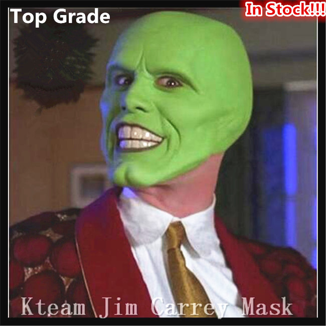 100% Latex Famous Magic Comedy Movie (The Mask ) Latex Jim Carrey Mask Halloween Costume Cosplay/Masquerade Costume Prop/Toy
