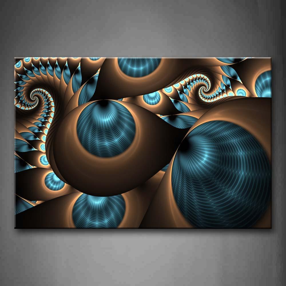 Encadrée mur Art photos abstrait bleu brun trous toile impression abstraite moderne affiche avec cadre en bois pour la décoration de la chambre