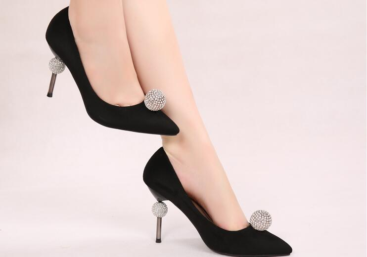 ФОТО Crystal shoes black Suede Crystal ball shallow pumps thin heels high heels lady shoes fashion wedding shoes sweet Princess shoes