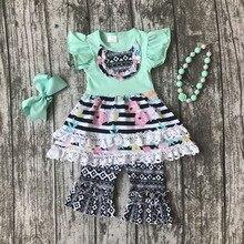 Bébé filles D'été printemps vêtements filles vêtements enfants floral stripe dress tenues Azect à volants capri tenues avec accessoires