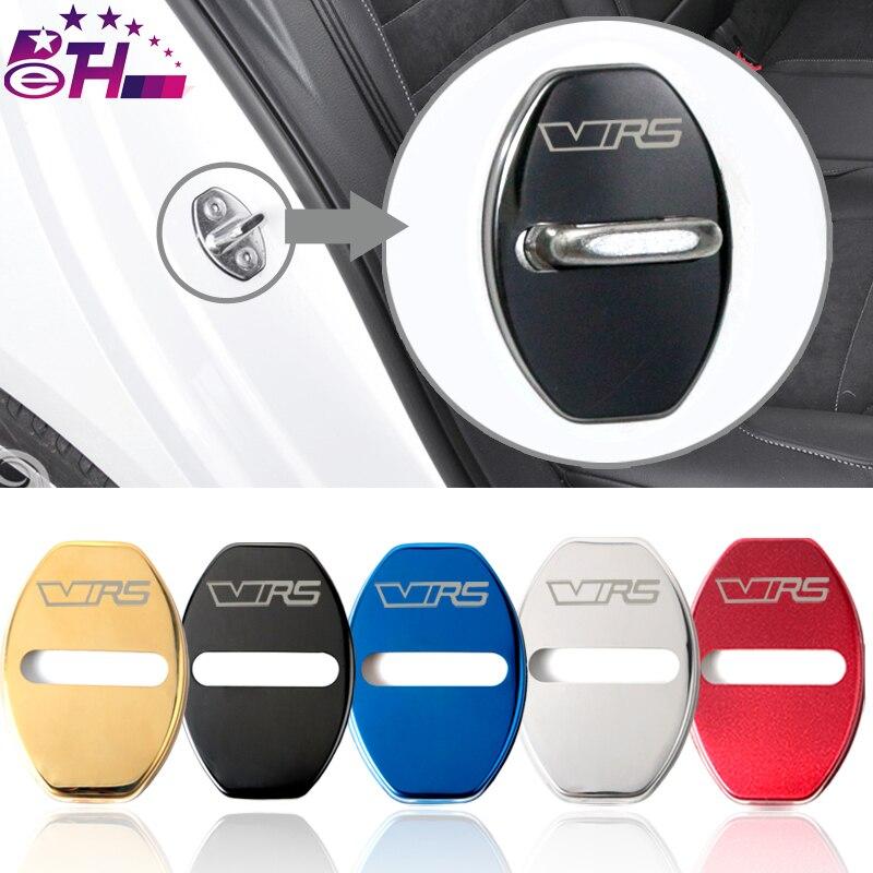 4 adet araba-styling kapı kilidi kapak araç amblemi Skoda için Fit VRS Octavia A7 hızlı süper aksesuarları paslanmaz çelik araba Styling