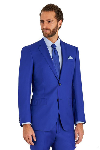 2255b89e6493c Casual Stil Özel Fit Smokin Iş Mavi Renk Bridegroon Düğün Balo Suits (Ceket  + Pantolon