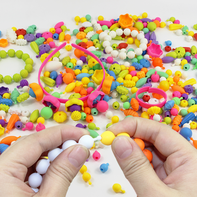 260PCS Kid Girls Colorful Plastic Pop Snap Beads Toys Creativel Arts &  Crafts DIY Wear Bead Jewelry Bracelet Without String Toys - buy at the  price of $7.39 in aliexpress.com | imall.com