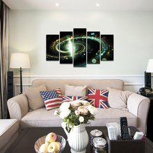 5 Panel Modern Printed Space Universe Landscape Paintings Canvas Picture Galaxy For Living Room Picture Modular picture Unframed