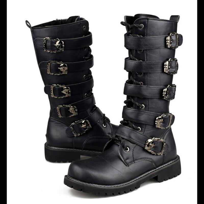 Lacets Combat Chaussures À Hh Moto Punk Rock En Militaires Noir Veau De Métal Boucle Haute Mi Hommes Bottes Mâle 128 CTqZFq6