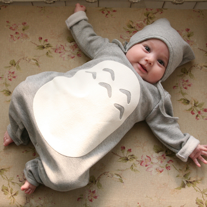 100% Cotton Baby Rompers Totoro Baby Boy Clothes With Hat Long Sleeve Baby Girls Clothing Set baby rompers o neck 100