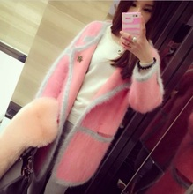 genuine mink cashmere sweater women's long knitted mink sweater 100% cardigans Free shipping 009