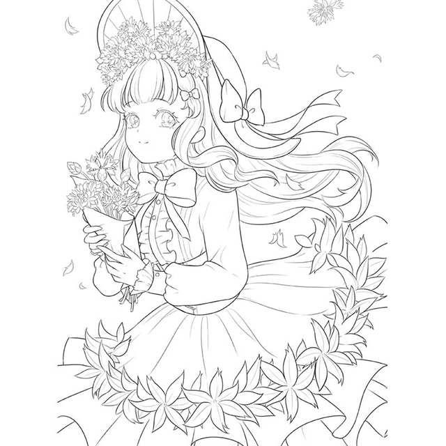 Novas Flores E Meninas Livro Para Colorir Secret Garden Estilo