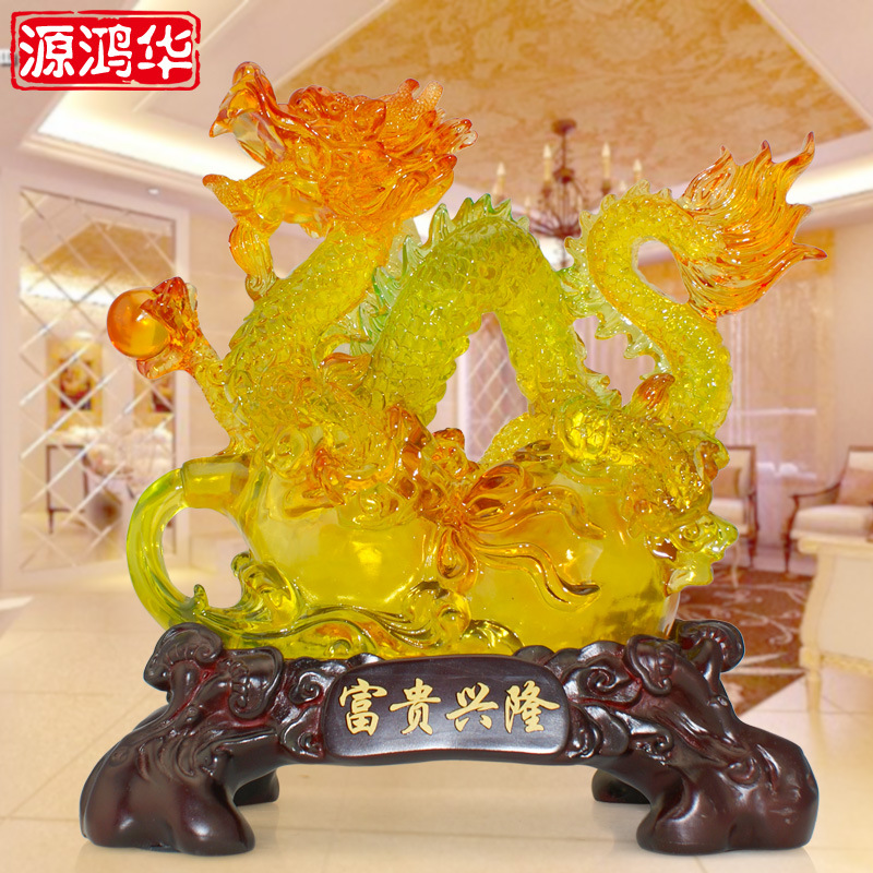 2016 New Arrival New Home Decoration Accessories Glass Resin Crafts Dragon And Prosperous Living Room Office