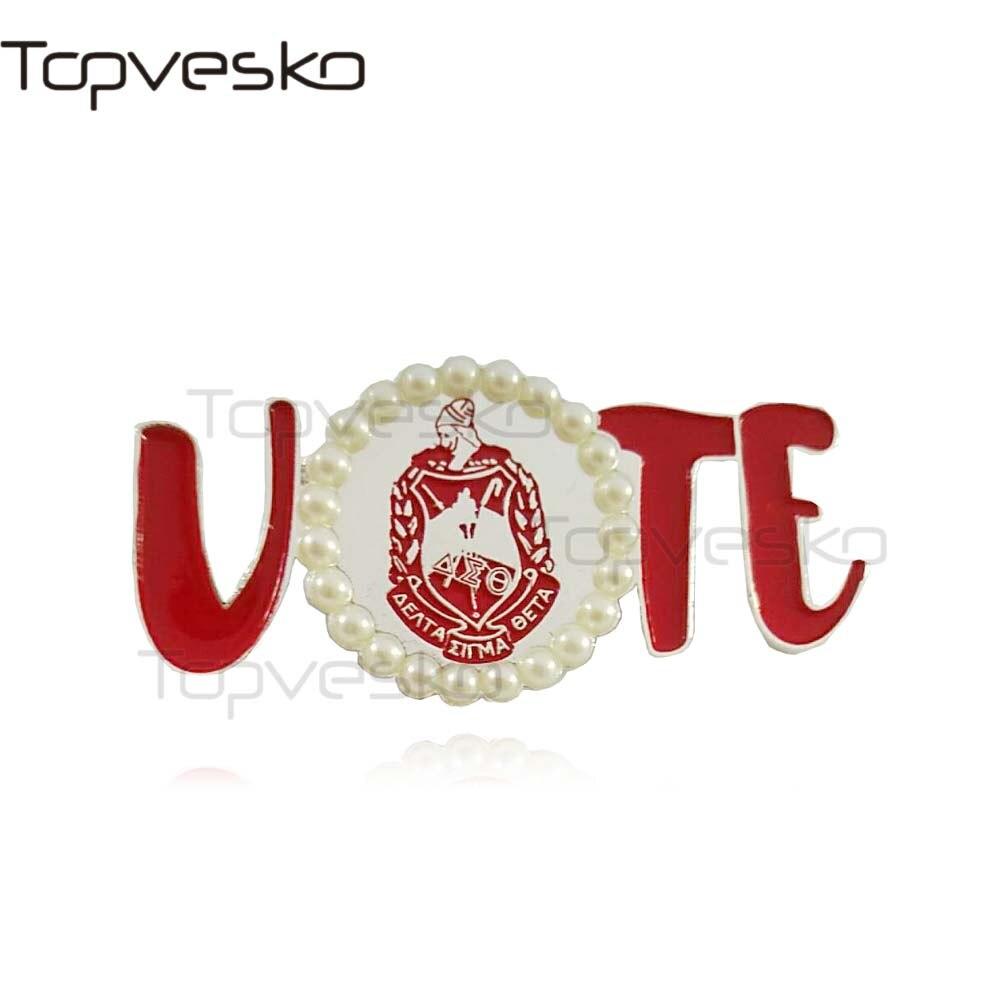 Topvesko Sorority Crest Delta shield Greek Brooch Delta Sigma Theta VOTE Pin