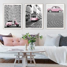 Modern City Landscape Pink Car Bus Posters And Prints Canvas Printings Wall Art Pictures Living Room Home Decorations Unframed