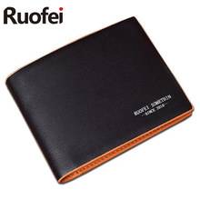 RUOFEI2017 men Leather Brand Luxury Wallet Vintage Minimalist Short Slim Male Purses Money Clip Credit Card Dollar Price  men wallet leather vintage purses high quality money bag credit card holders new dollar bill scrub short wallet wholesale price