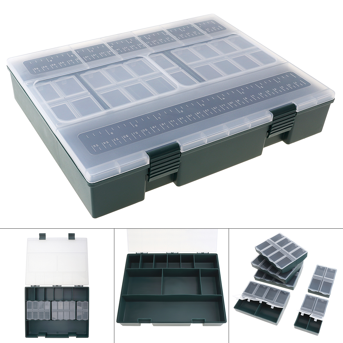 Hot Large Capacity Carp Fishing Tackle Box With Ruler Built-in 6 Separate Small Boxes Ideal For Athletics Leisure Carp Fishing