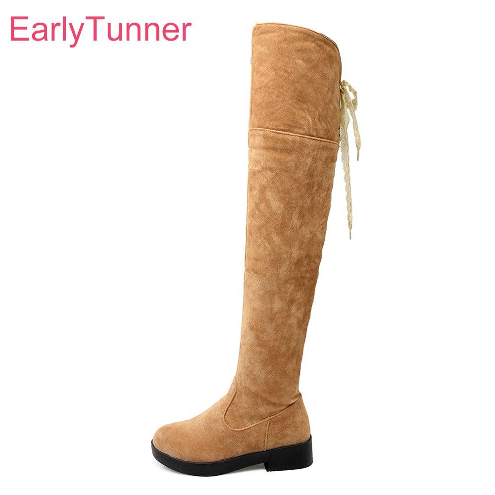 Brand New Winter Warm Sexy Women Thigh High Boots Yellow Gray Folding Lady Platform Shoes Chunky Heel ECT28 Plus Big size 10 43