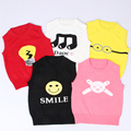 Novas Crianças O Pescoço Tops de Malha crianças colete colete meninos meninas Dos Desenhos Animados Camisola Casaco Colete roupas Blusas das crianças Macio 1-5 T
