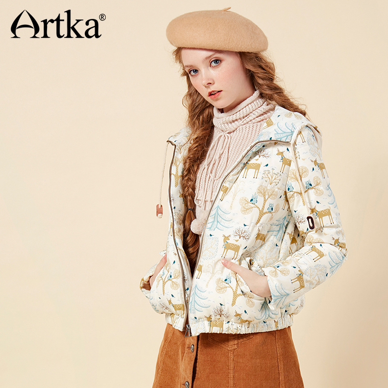 ARTKA 2018 Winter Women 90% White Duck   Down   Fun Animal Pattern Print Stitching Hooded All-match Short   Down   Jacket   Coat   DK10366Q