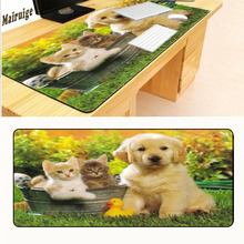 Mairuige Love Puppies Cat and  Dogs Pets Funny Large Mouse Mat Durable Computer Mousepad 400*900 Locking Edg