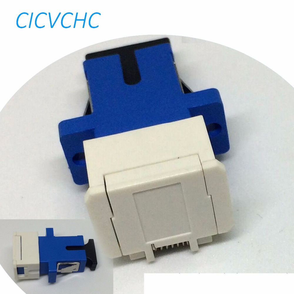 50pcs SC-Simplex-Anti Dust and Laser-with Flange-Blue SCUPC/Optical Fiber Adapter
