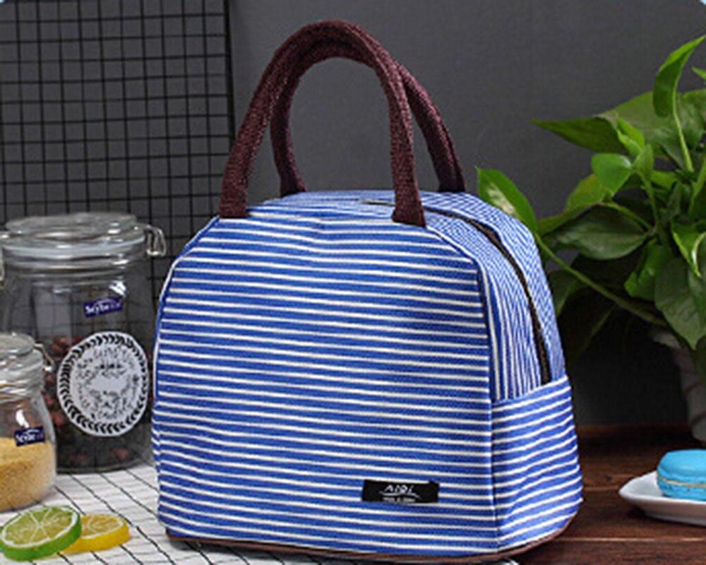 2018 Neue Stil Mode Tragbare Isolierte Oxford Stoff Kühler Mittagessen Box Tragen Tote Streifen Picknick Lagerung Tasche