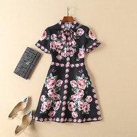 См. оранжевое Брендовое осеннее розовое короткое платье черные/розовые платья с бантом Robe Femme Ete 2018 женские вечерние платья ND2307