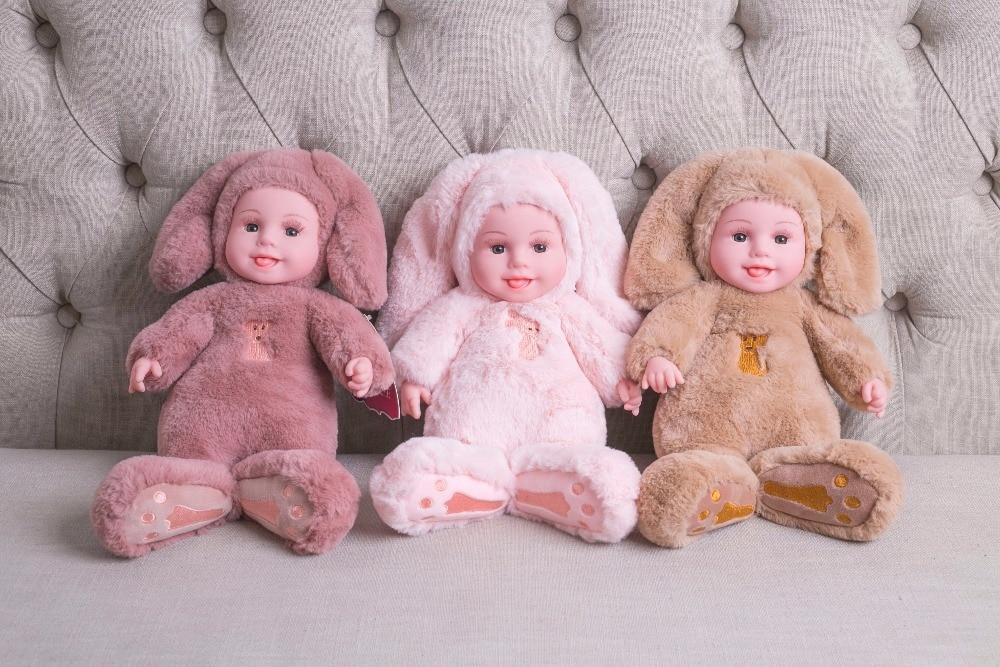35CM Reborn Baby Rabbit/Bear Plush Doll Toys Open Eyes Cute Baby Dolls With Children Sleeping Best Birthday Gift For Kids