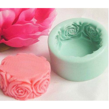 Round Rose Flowers Silicone Soap Mold Multifunction Candle Molds