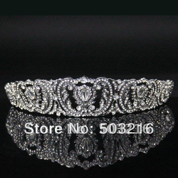 Free Shipping High Quality Clear Crystal Silver Plated Promotion Fashion Jewelry Hair Accessories Party Crown Tiaras