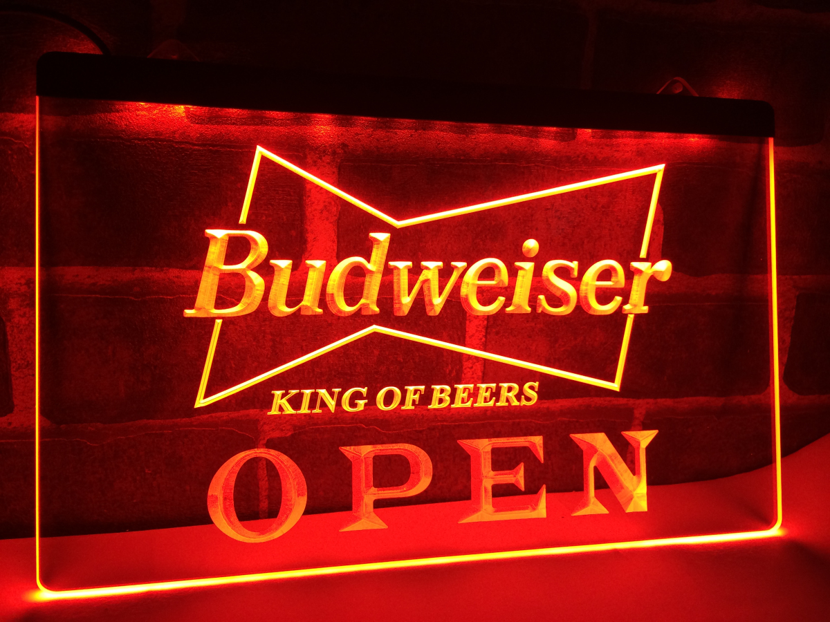 Le open budweiser beer nr pub bar led neon light sign