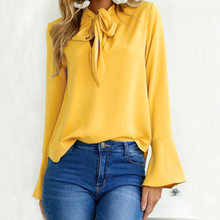 Women Blouses Shirts Vintage Bowknot Solid Office Lady Tops 2019 Summer Long Flare Sleeve Tunic Women Yellow Blouse Blusas Mujer(China)