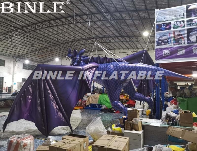 Dragon gonflable géant le plus populaire de 6 m de haut dragon gonflable rouge bleu avec des ailes pour la décoration de fête - 4